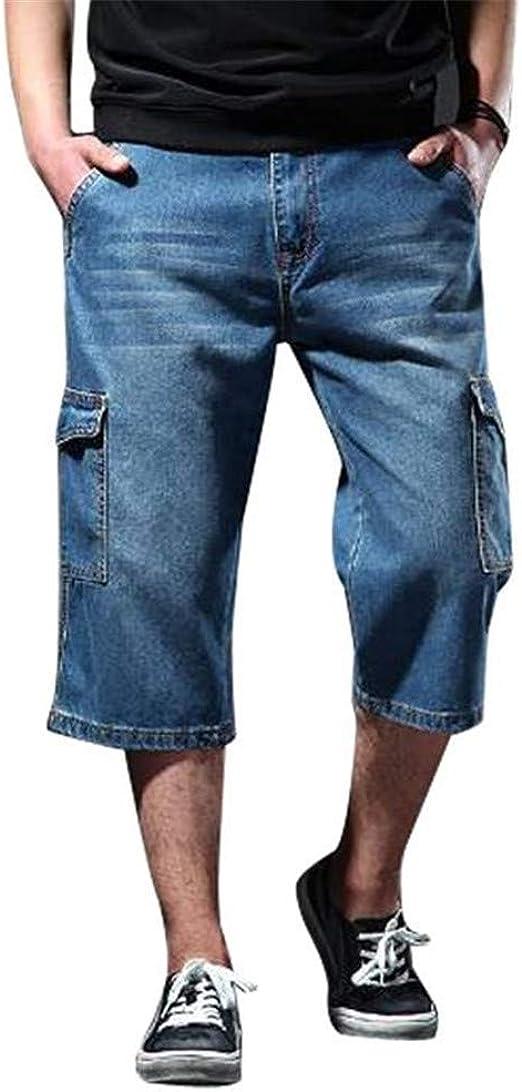 [ZhangSong] メンズ デニム 七分丈パンツ 夏 ゆったり ファッション ジーンズ ワークパンツ シルエット