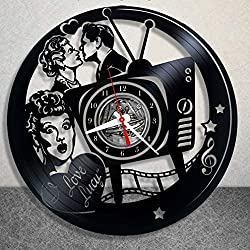 DOLIROX I Love Lucy Vinyl Clock, Vinyl Wall Clock, Vinyl Record Clock Greatest Sitcom Lucille Ball The Lucy Show Here's Lucy Life with Lucy Wall Art Decor Gift (Black B)