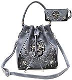Search : Cowgirl Trendy Western Concealed Carry Sugar Skull Punk Art Purse Bucket Handbag Wallet Set Grey