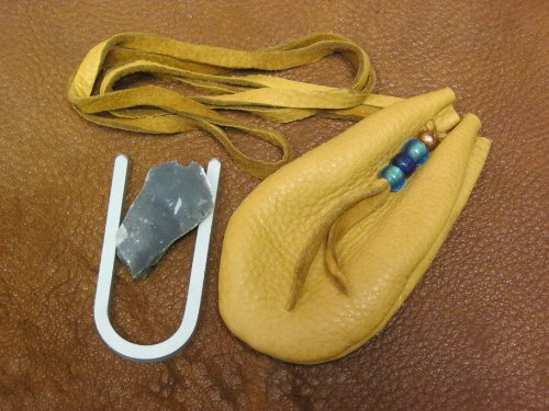 Buckskin Neck Pouch Flint and Steel Kit by Primitive Fire