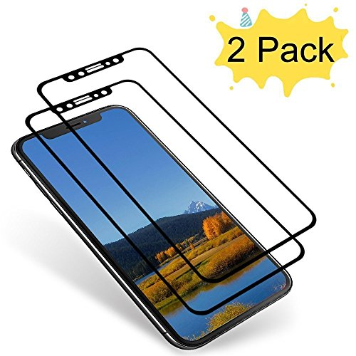 AuideasiPhone X Screen Protector, iPhone X Tempered Glass [3D Full Coverage] Bubble Free Screen Protector [Anti-Scratch] for iPhone X-Black [2-Pack]