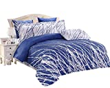 Swanson Beddings Tree Branches 3-Piece 100% Cotton Bedding Set: Duvet Cover and Two Pillow Shams (Blue-White, Full)