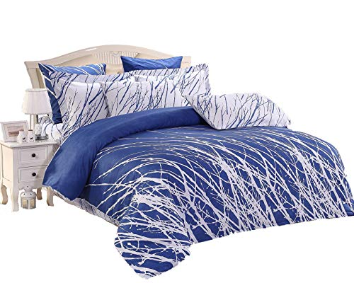 Swanson Beddings Tree Branches 3-Piece 100% Cotton Bedding Set: Duvet Cover and Two Pillow Shams (Blue-White, Queen)