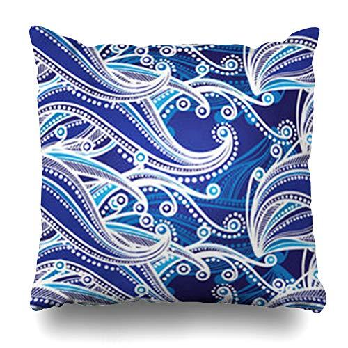 - Pandarllin Throw Pillow Covers Design Nautical Abstract Blue Waves White Caps Foam Style Pattern Nature Sea Retro Creative Curve Cushion Case Home Decor Sofa Square Size 16 x 16 Inches Pillowcases