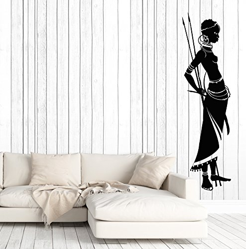 Vinyl Wall Decal Native African Women With Spear Ethnic Style Stickers Large Decor (2680ig) Black ()