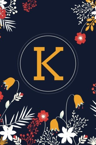 k-6x9-journal-lined-writing-notebook-with-monogram-120-pages-yellow-and-orange-flowers-on-navy-blue-