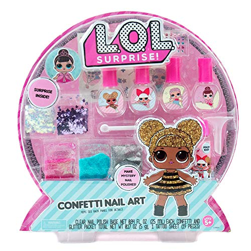 L.O.L. Surprise! Confetti Nail Art by Horizon Group USA, Make Your Own Nail Polish by Adding Glitter, Confetti, Gemstones & More -