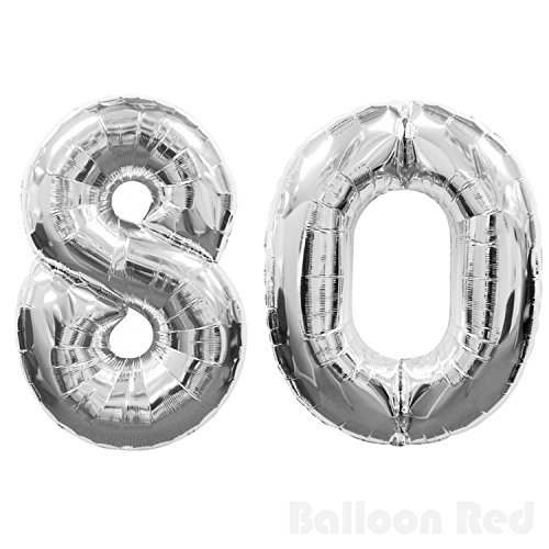 Homemade Candy Costumes Adults - 30 Inch Foil Mylar Balloons for Wall Decoration (Premium Quality, Air or PURE Helium Fill Only), Glossy Silver, Number 80