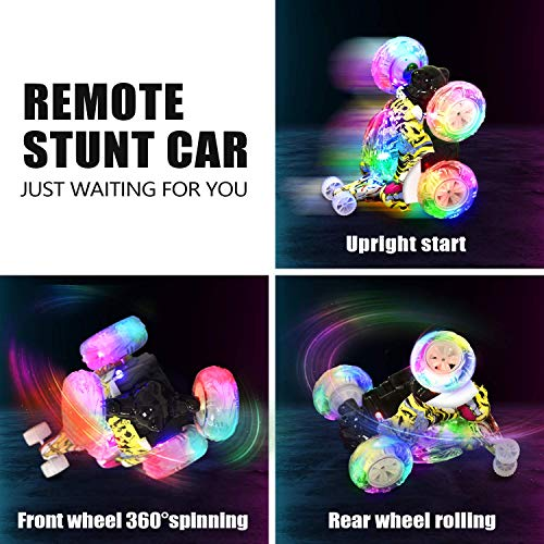 Kizeefun Remote Control Car, RC Stunt Car Invincible 360°Rolling Twister with Colorful Lights & Music Switch, Rechargeable Remote Control Car for Boys and Girls