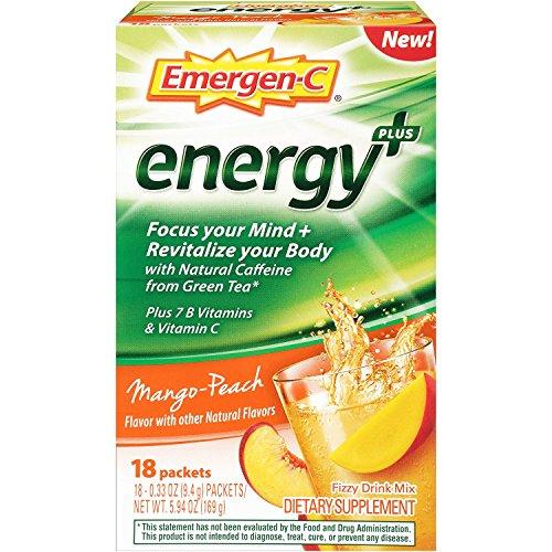 Emergen-C Energy+ (18 Count, Mango-Peach Flavor) Dietary Supplement Drink Mix with Caffeine, 0.33 Ounce Packets