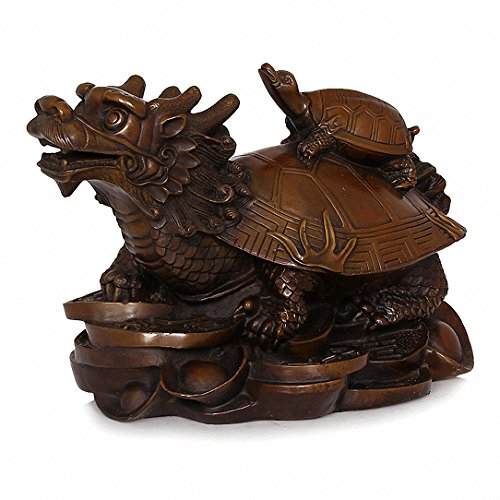 Wenmily Feng Shui Wealth Prosperity Copper Dragon Turtle Statue + Set of 10 Lucky Charm Ancient Coins on Red String,Best Housewarming Congratulatory Gift,Feng Shui Decor (4.2