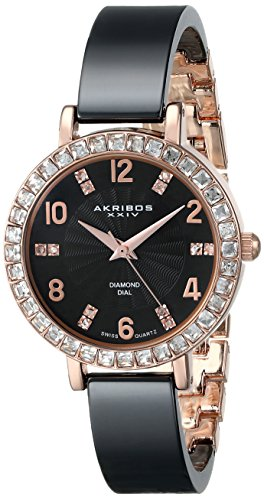- Akribos XXIV Women's Designer Fashion AK758 Ceramic Bangle Watch With Crystal Studded Bezel (Black)