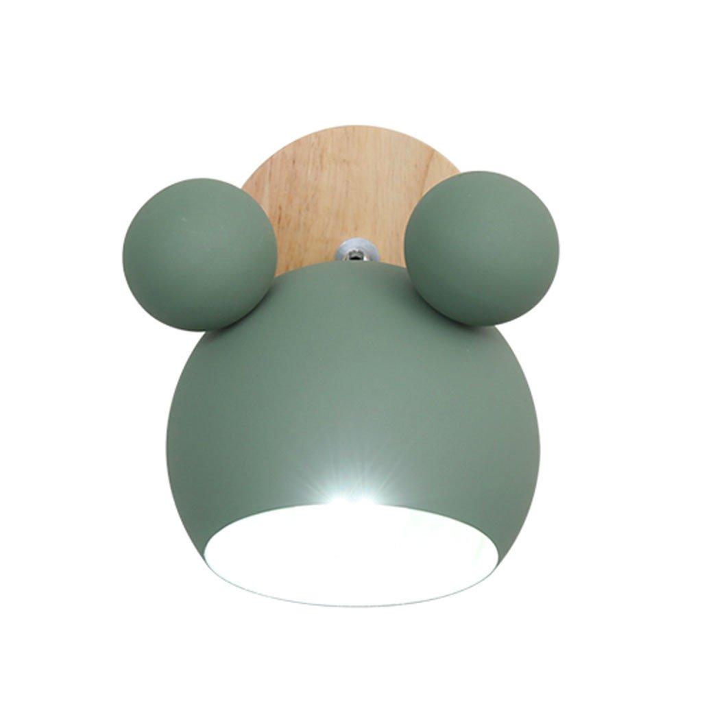 Unbekannt QIQIDEDIAN Schlafzimmer Nachttischlampe Nette Persönlichkeit Wohnzimmer Kinderzimmer Wandleuchte (Farbe : Green)
