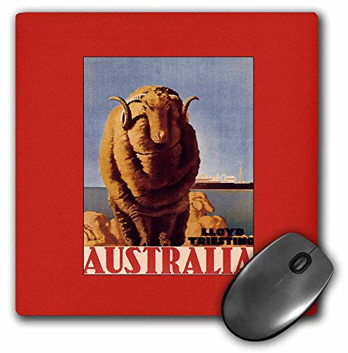3dRose BLN Vintage Travel Posters and Luggage Tags - Australia Luggage Label with Longhorn Sheep and Cruise Ship - MousePad (mp_171259_1) ()