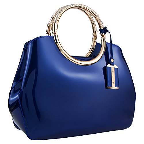 Bagood Women's Evening Bags Patent Leather Glossy Handbag Clutches Purses Shoulder Bag for Wedding Prom Party Blue by Bagood