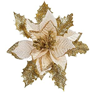 Goodtrade8 Christmas Glitter Poinsettia Christmas Tree Ornaments Pack of 1(Gold) 113