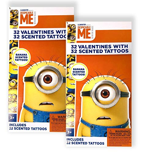 (2 PACK) Despicable Me Minions Set of 32 Valentine's Day Cards with 32 Scented Temporary Tattoos for Kids (Valentine Day Cards Despicable Me)
