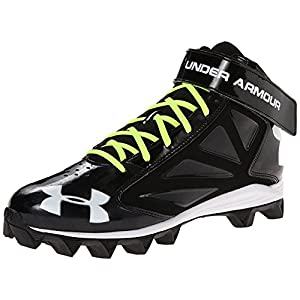 Under Armour Men's UA Crusher Mid Football Cleats, Black