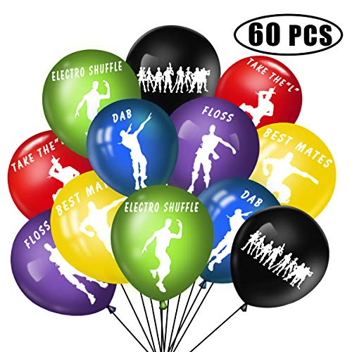 60PCS 6 Colors Gaming Party Latex Balloons - 12 inches Dance Happy Birthday Big Solid Balloons for Party Supplies Decoration Birthday and Party Favors, With 1 PCS Loving-type Balloon Free Gift