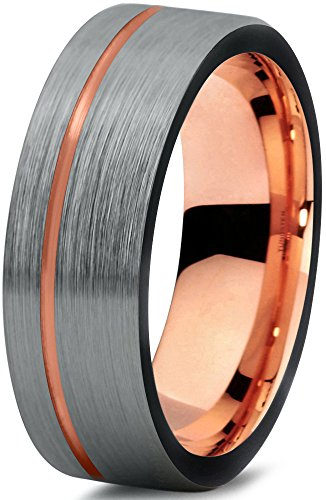 Midnight Rose Collection Tungsten Wedding Band Ring 7mm for Men Women Black & 18K Rose Gold Plated Pipe Cut Brushed Polished