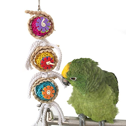 Pet Parrot Chewing Swing Toys with Rattan Ball String Hanging Rope Bells for Macaw African Greys Budgies(2 design)(A)