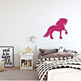 Large 36in x 30in Dark Pink Dressage Friesian Horse Wall Decal - Girl's Vinyl Home Decor Bedroom Decoration - Horse Lover's Gift