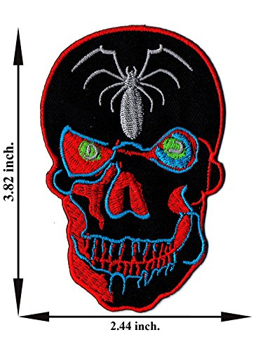 - Spider Skull Smile Embroidered Applique Iron on Patch T-shirt Cap Jeans Bag
