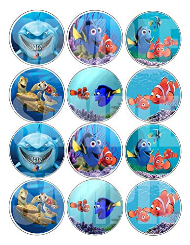 """Finding Nemo Stickers, Large 2.5"""" Round Circle Stickers to Place onto Party Favor Bags, Cards, Boxes or Containers -12 pcs Dory, Marlin, Nigel Underwater Ocean -"""