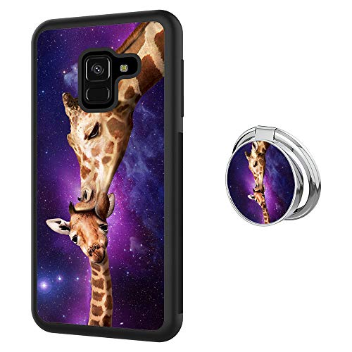 Designed Love Giraffe Samsung Galaxy A8 Case with Buckle Ring 360° Rotatable Silvery Durable Ring Buckle, TPU Black Antiskid Tread Phone Case for Samsung Galaxy A8