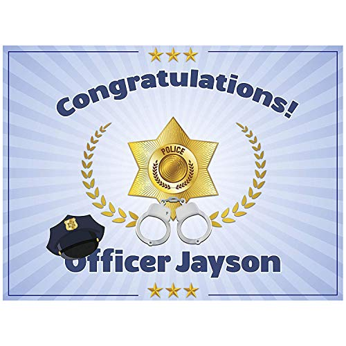 Officer Banner, Police Party, Graduation Banner, Police Academy Banner, Police Party Ideas, Personalized Congratulation Party Banner Handmade Party Supply Poster Print Size 36x24, 48x24, 48x36, 24x18