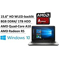 2017 Newest HP High Performance 15.6 HD Laptop Computer AMD Quad-Core 7th Gen A10-9600P up to 3.3 GHz 8GB DDR3 1TB HDD DVD RW Windows 10 Home