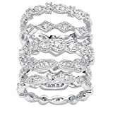 Lux Round White Cubic Zirconia Silvertone Stack Eternity Bands 5-Piece Set