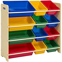 Best Choice Products Kids 12-Bin Colorful Lightweight Childrens Storage Box Toy Organizer w/ Shelves - Multicolor