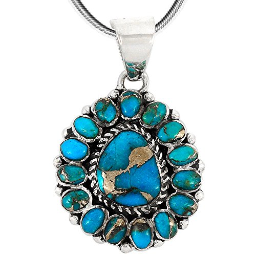 Sterling Silver Turquoise Cluster Pendant (Turquoise Pendant Necklace in Sterling Silver (SELECT Style) (Rich Cluster))