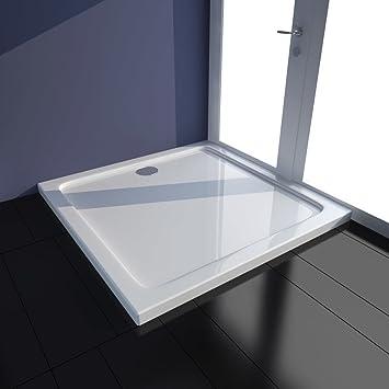 Plato de Ducha para Baño Cuadrado de ABS Color Blanco 80 x 80 cm ...