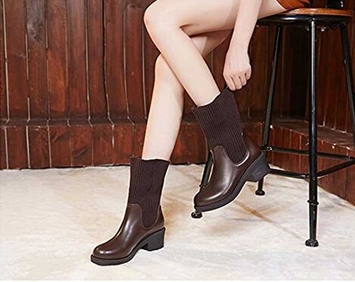 Boots Solid Sweater Ankle Womens Chunky Knitted On Trendy Platform Brown Heel Waterproof Mid Pull CHFSO OqSBZf