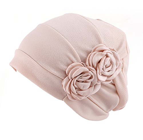 (HONENNA Chemo Turban Headband Scarf Beanie Cap Hat for Cancer Patient (Cream-Coloured))