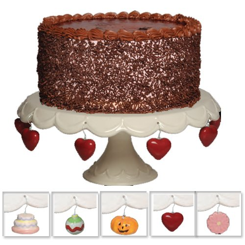 Tumbleweed Cake Pedestal with Charms, Cupcake Stand And Cake Stand, White Cake Plate, 11.25 Inch Diameter (Plates Ceramic Halloween)