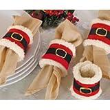 BeeSpring 4pcs Christmas Napkin Rings Serviette Holder Party Banquet Dinner Table Decor