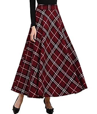 Femirah Women's Wool Woolen High Waist A-Line Flared Vintage Long Skirt
