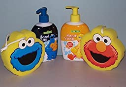 1 Cookie Monster and 1 Big Bird Hand Soap (8 oz) with Bonus Elmo and Cookie Monster Bath Sponges (4 Items Total in Kit)