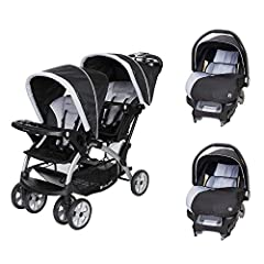 Double the safety, double the style, and double the babies - that's what you can do with the Baby Trend Sit N' Stand Double Infant Stroller. This convertible double stroller features 2 seats or a removable rear seat for a standing platform fo...