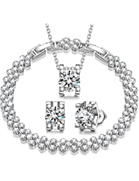 Snow Queen Cubic Zirconia Jewelry Set for Women, White...