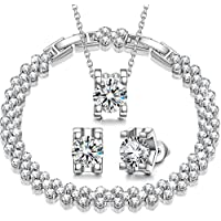 QIANSE Snow Queen Cubic Zirconia Jewelry Set for Women, White Gold Plated Necklace Bracelet Earrings Set, Box Packaged! 30% off coupon: 2UC3N5KV