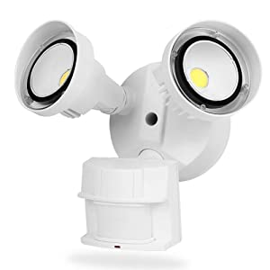 CINOTON 20W LED Flood Security Motion Light Outdoor[150W Equivalent], Dusk to Dawn Wall Mount LED Floodlight,2 Head, Weatherproof IP65,1800 Lumens,5000K, Adjustable Dual Head Motion Sensor Light