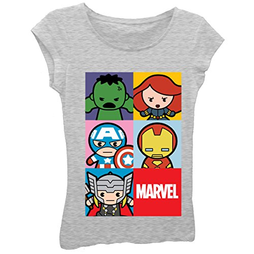 Marvel Big Girls' Kawaii Superhero Characters Short Sleeve Tee, Heather Grey, M