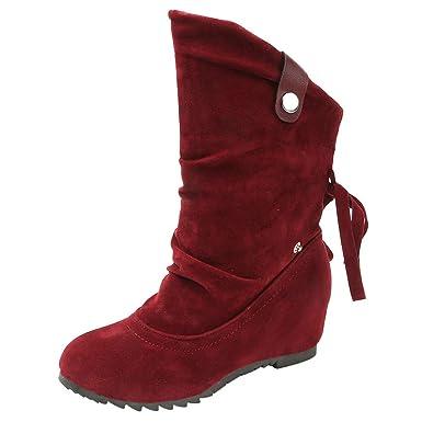 Naturazy Botas Largas para Mujeres, Botas De Mujer Planas Ocultas Bajas CuñAs Botines De Tobillo Zapatos Casuales Botines Lindos Zapatos Casuales: ...