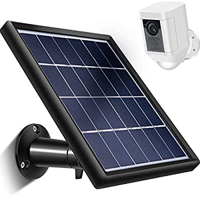 Skylety Solar Panel for Ring Spotlight Cam with Security Wall Mount, 5 m/ 16.4 ft Cable with Barrel Connector, 5 V/ 3.5 W (Max) Output (Not for Stick Up Cam/Arlo Cam Series) Without CAM