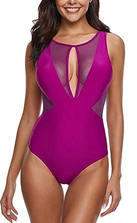55bc1e2d8297 Leslady Femme Maillot de Bain Une Pièce Sexy Bikini Mesh Swimwear Col V  Transparent Backless  Amazon.fr  Vêtements et accessoires