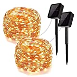 Upoo Solar String Lights,2 Pack 100LED Copper Wire Lights 33ft 8 Modes Fairy Lights Waterproof Outdoor String Lights for Patio Garden Gate ard Party Wedding Xmas Indoor Decoration Bedroom Warm White